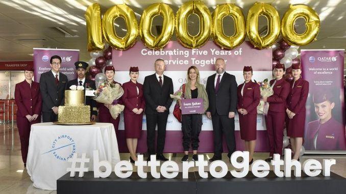 sabiha gokcende qatar airwaysin millionth Passagéier