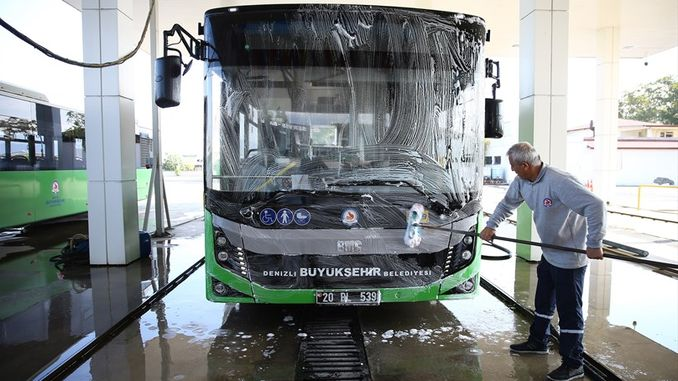 sea ​​city public transportation vehicles are cleaned every day