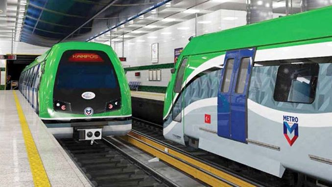 first stage of konya metro will be between neu and meram municipality