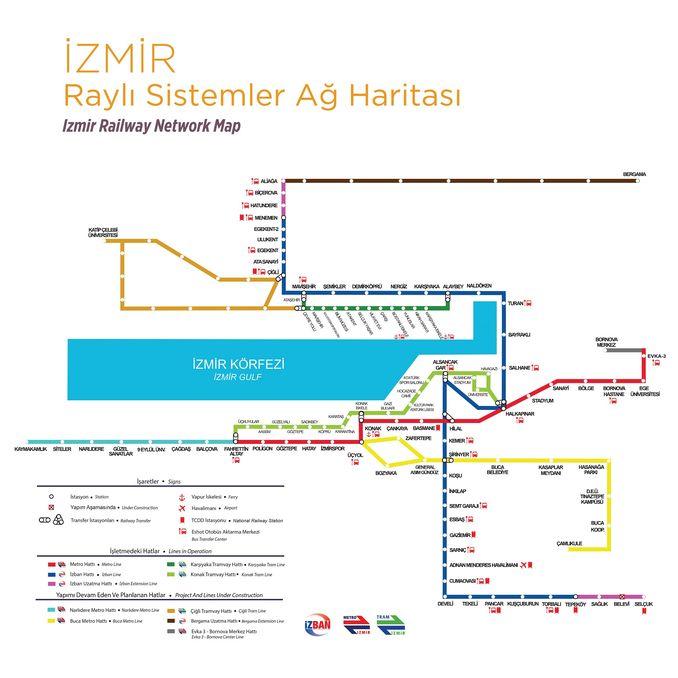 İzmir Raylı Sistemler Ağ Haritası