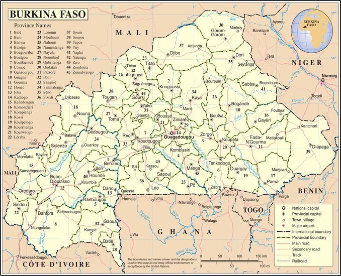 برکینا فاسو ٹرانسپورٹیشن نیٹ ورک کا نقشہ