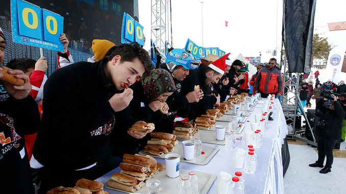 Sausage eating contest in erci