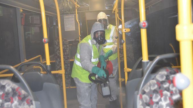 Çorluda Otobüsler Sakgın Hastalıklara Karşı Dezenfekte Edildi