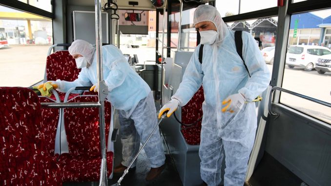 public transport vehicles on the island disinfected against epidemics