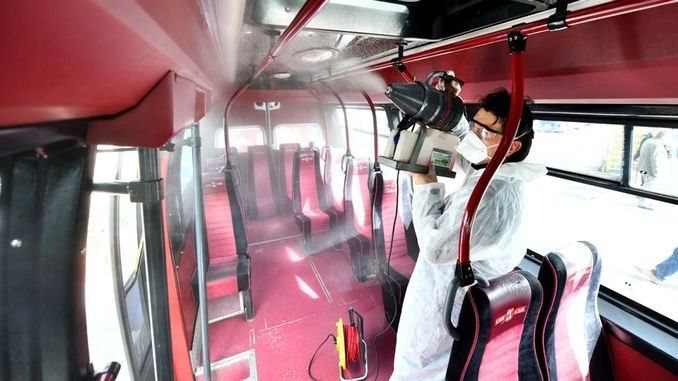 Public transport vehicles are disinfected in the capital