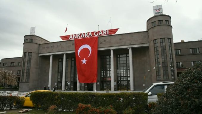 railways equipped train stations with turkish flags