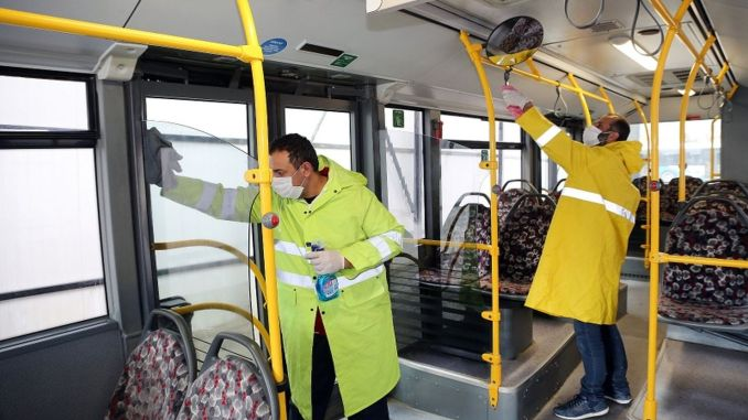 elazig municipality disinfects public transportation vehicles every time before