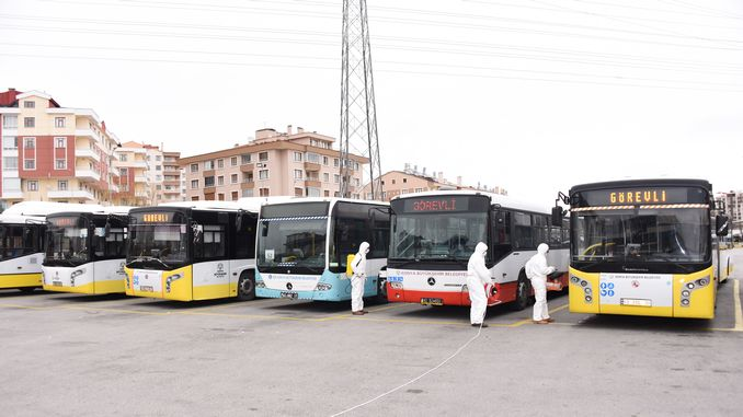 buses carrying citizens who were quarantined in konya were disinfected