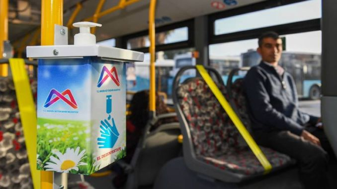 In Mersin, disinfectant devices were placed on the buses and the seats were drawn.