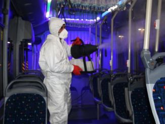 Private public buses disinfected in sanliurfa