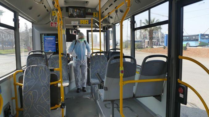 trabzon disinfects bus and minibus against coronavirus