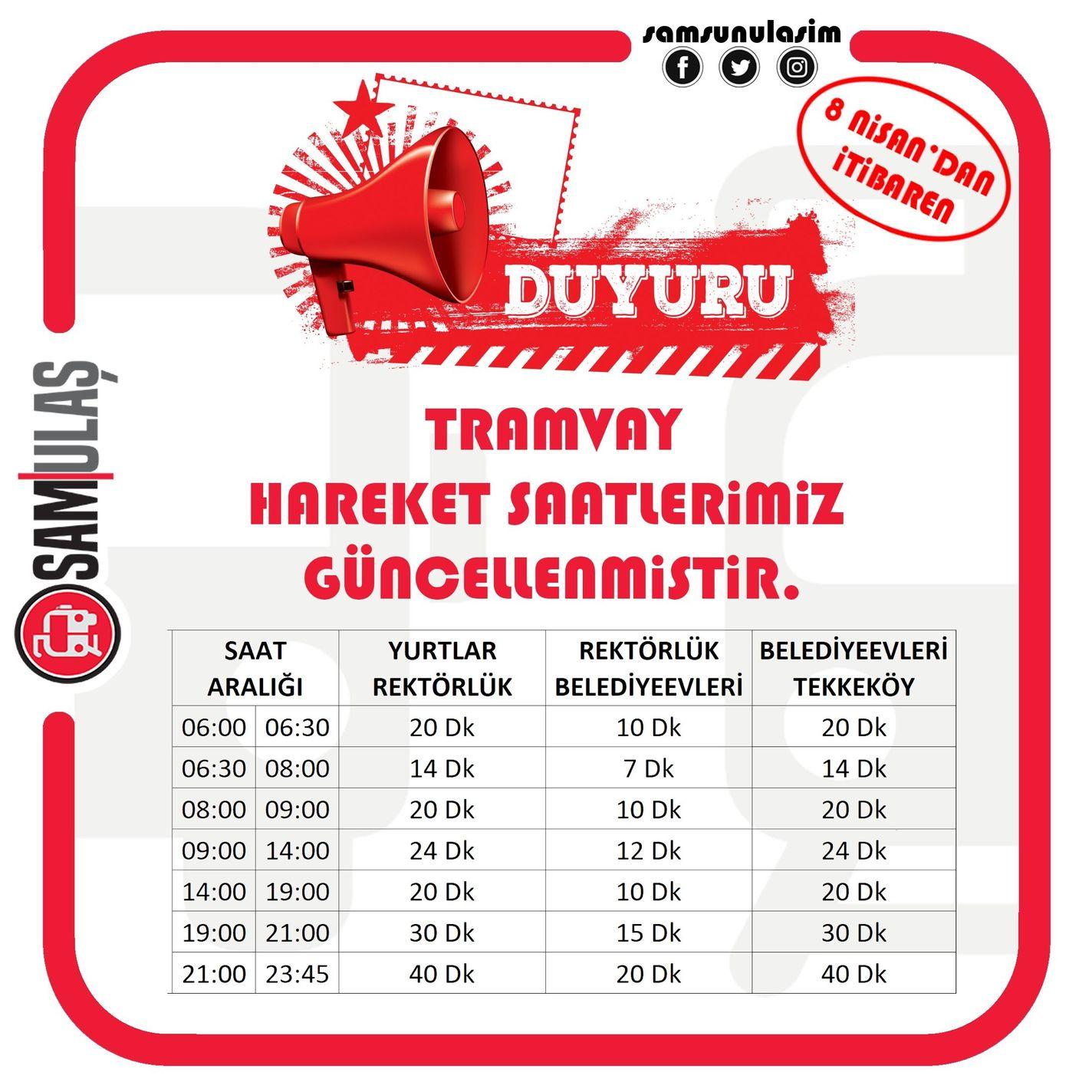 Samulaş updated tram hours