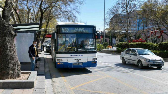 Arranxo de rutas de autobuses para traballadores sanitarios en Ankara