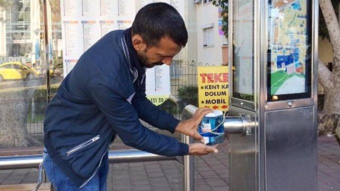 from Antalya big city to the stops hand disinfectant