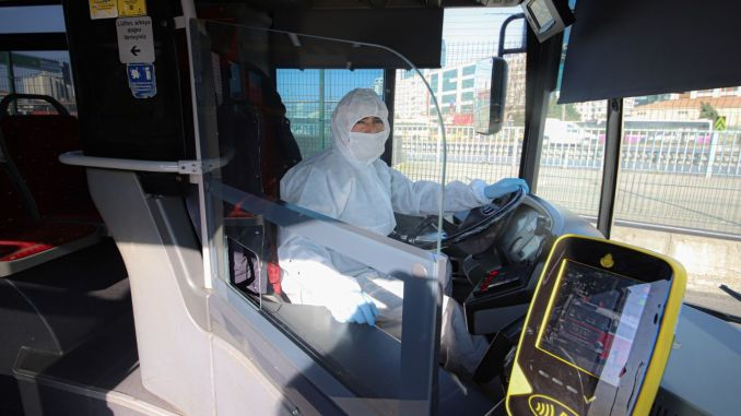 metrobus sofor in Istanbul will work with protective overalls