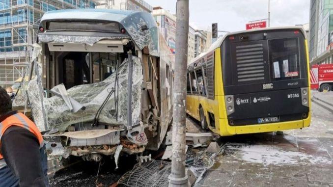 injured in tram iett bus in istanbul