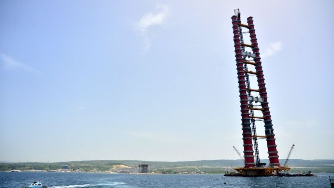 steel tower towers of canakkale bridge were completed