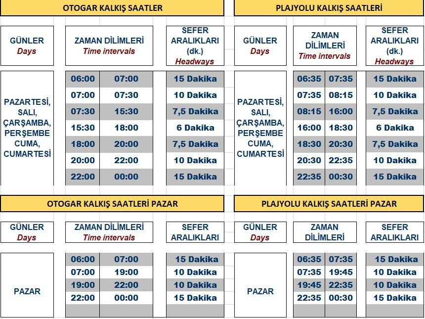akcaray timetable