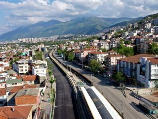 traffic stopped in bursa merinos roads between novices are being renewed