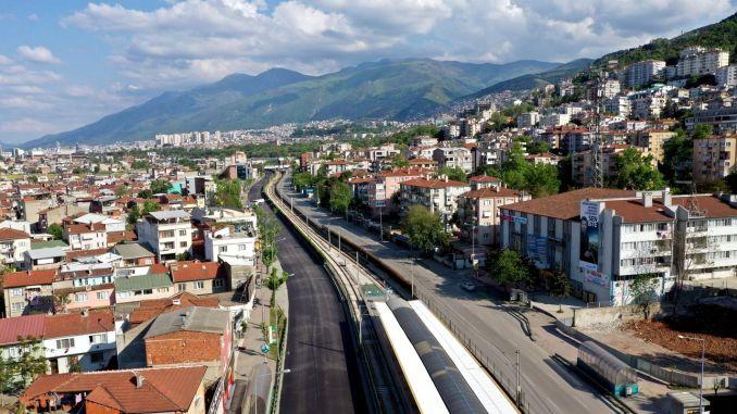 traffic stopped in bursa merinos roads between novices are being renewed