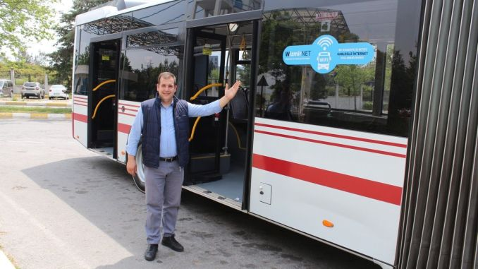 Free internet period started on eshot buses
