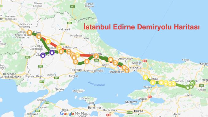 mapa del ferrocarril de estambul edirne