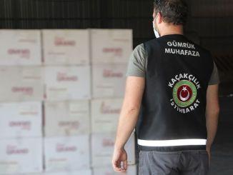 在伊茲密爾查獲了數百萬支捲菸和捲菸紙