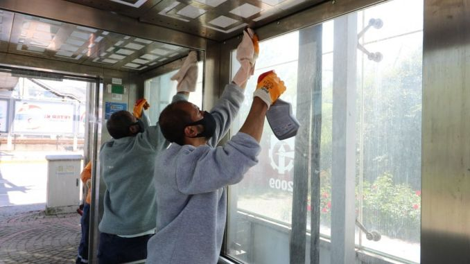 pedestrian top passage elevators in izmit are cleaned frequently