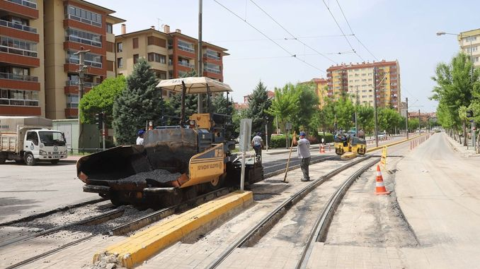Asphalt work has been completed at the tram level crossings