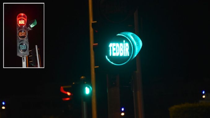 Awareness message from traffic lights in fishing