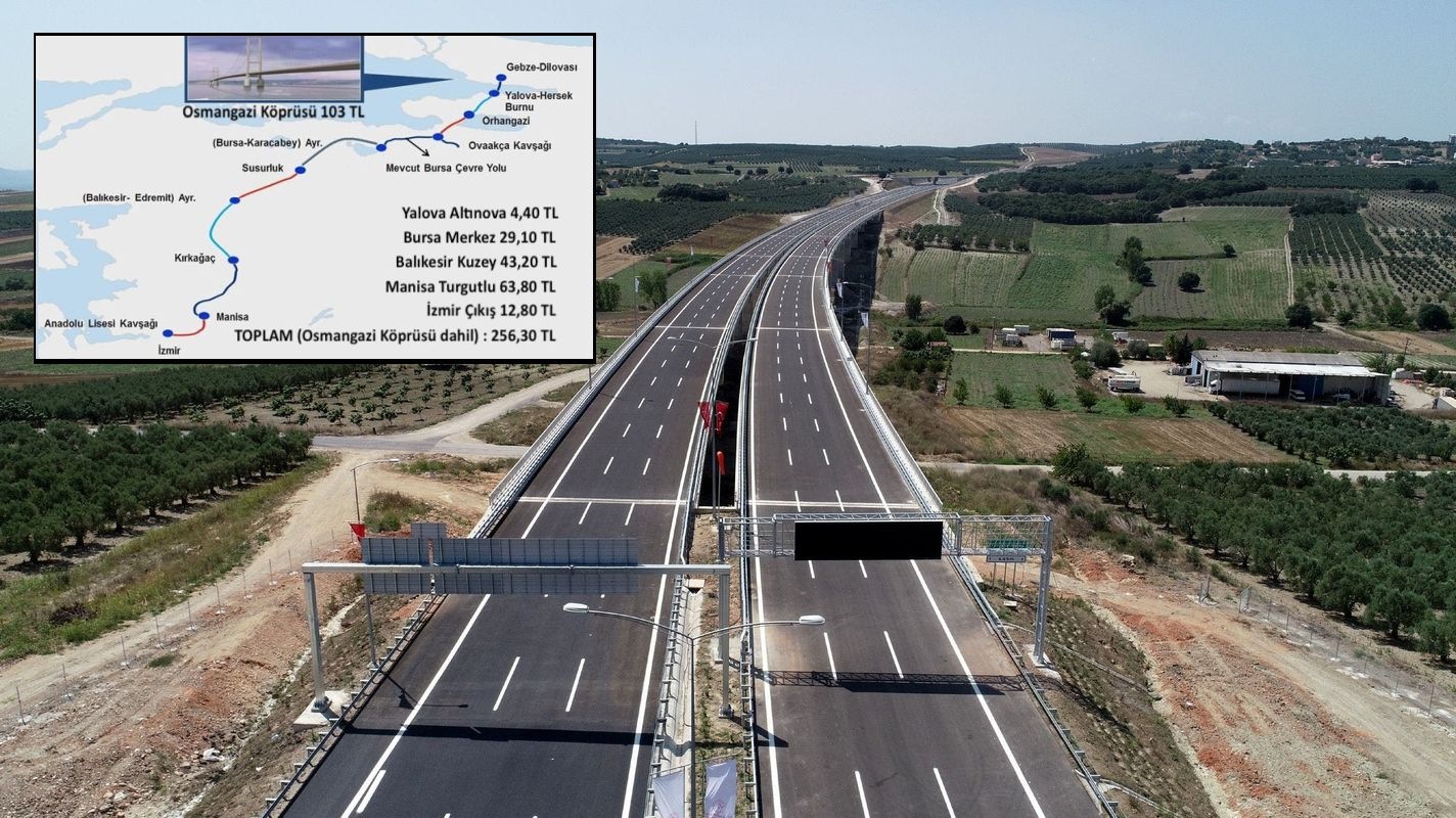 istanbul izmir motorway route and toll