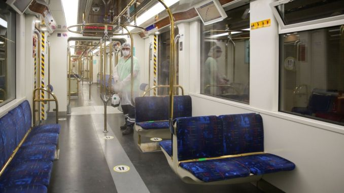 metro and tram wagons are disinfected once a day in izmir