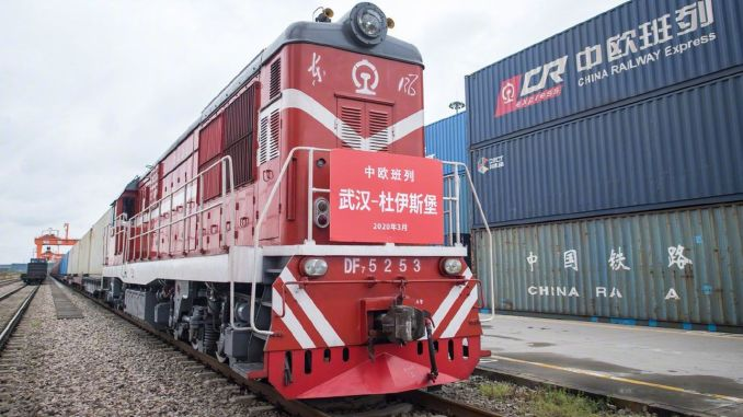 wuhandan set off the first block freight train to france