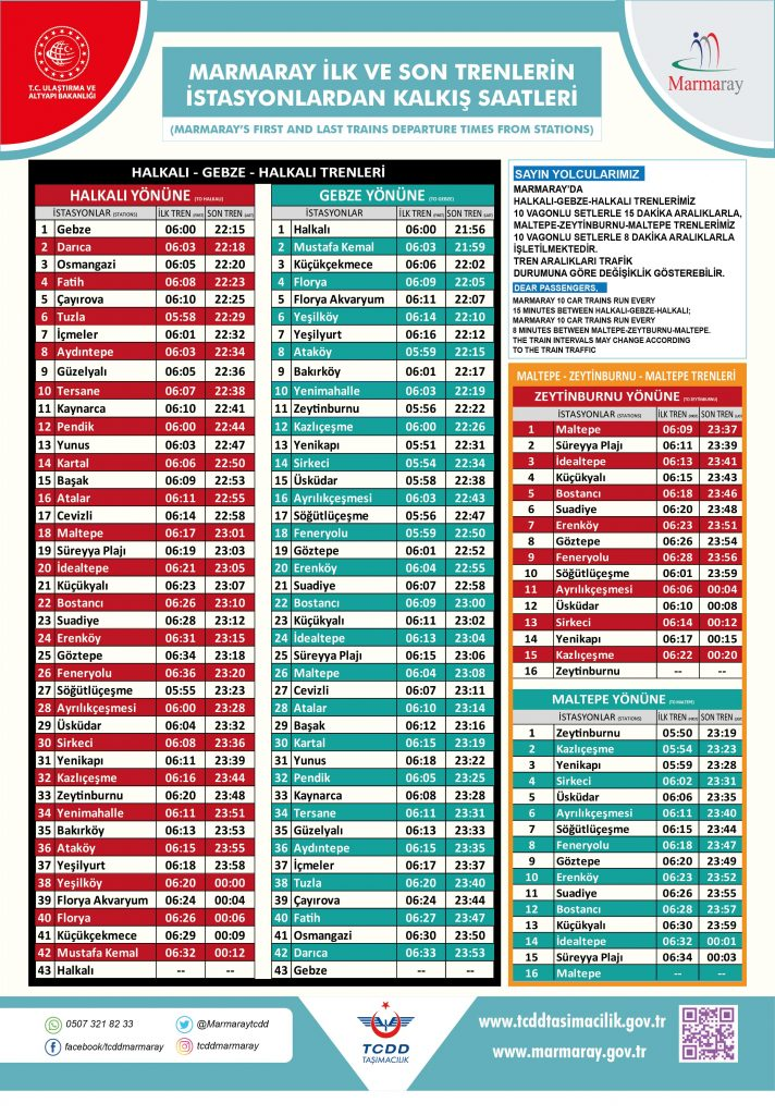 Gebze Halkalı Marmaray Current Timetable