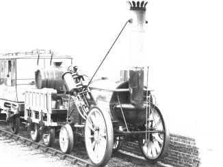 George Stephenson je delal kot parni lokomotiv z imenom Rocket