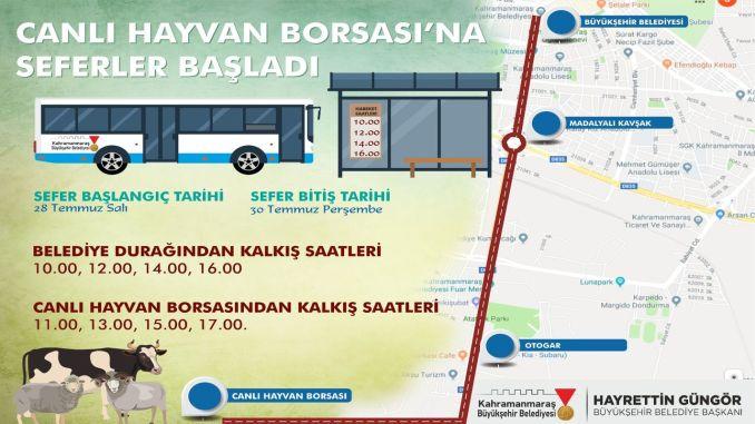 Kahramanmaras live animal stock exchange bus services started