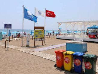 blue flag is flying on the beaches of the big city of Mersin