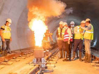 President of the first rail weld on the Narlidere metro line made