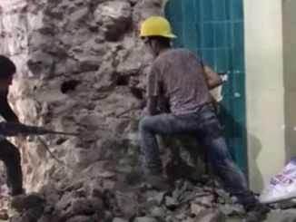 the wall of the Galata Tower was rushed back