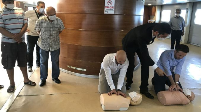 First aid training was given on Istanbul city line ferries
