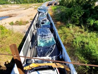 Train accident where dozens of Ford cars were scrapped on camera