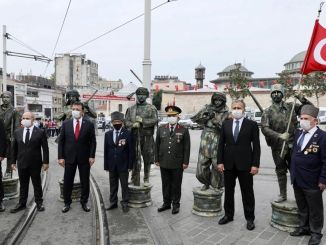 97th Anniversary of the Independence of Istanbul Celebrated with a Ceremony at the Taksim Republic Monument