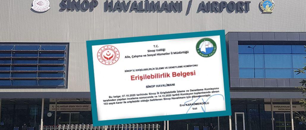 Sinop Havalimanı Erişilebilirlik Belgesi Aldı