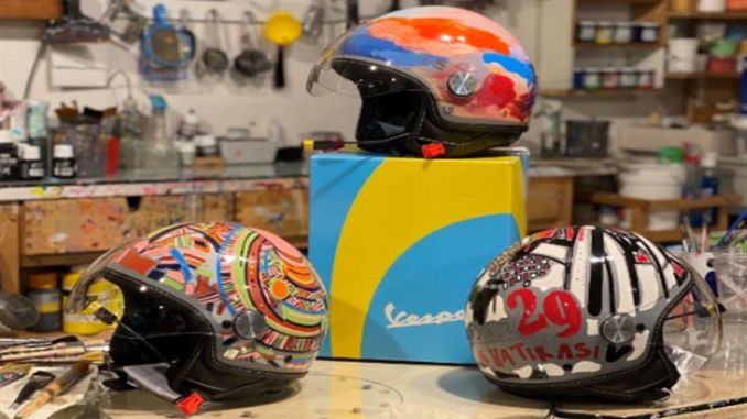Vespa Helmets Turned into Artworks