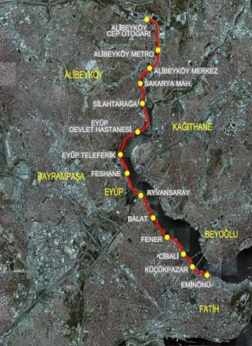 Eminonu Alibeykoy Tram Map