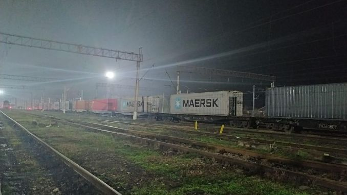 Export train continuing its gin journey reached Azerbaijan
