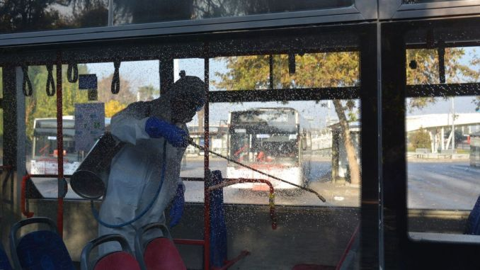 Public transportation vehicles are disinfected continuously in Izmir