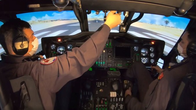 helicopter pilots of the gendarmerie are trained with a local simulator
