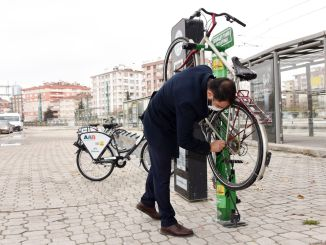 The number of bicycle repair stations has increased in Konya