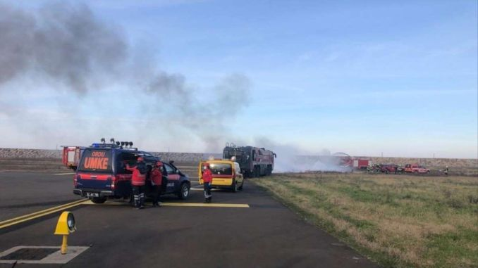 emergency and fire fire practice at the Ordu Giresun Airport